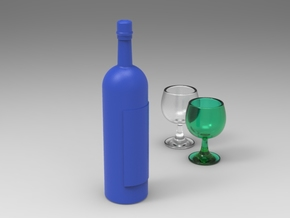 Wine Bottle 1:6 scale in Blue Processed Versatile Plastic