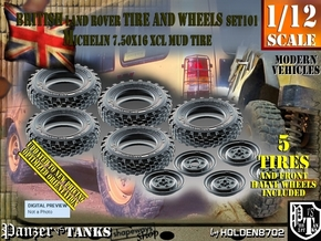 1/12 Land Rover XCL 750x16 Tire and wheels Set101 in White Natural Versatile Plastic