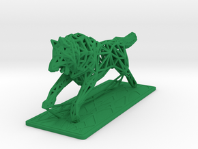 White Wolf in Green Processed Versatile Plastic