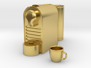 Coffee Machine 1:12 scale in Polished Brass