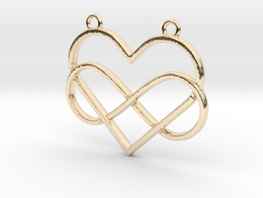 Infinite and heart intertwined in 14k Gold Plated Brass
