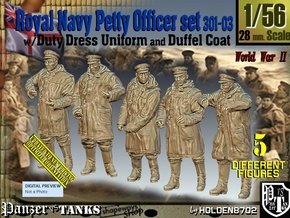1/56 Royal Navy DC Petty OffIcer Set301-03 in Smooth Fine Detail Plastic