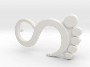 Foot Logo Buckle in White Natural Versatile Plastic
