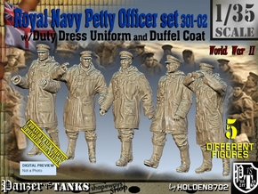 1/35 Royal Navy DC Petty OffIcer Set301-02 in Smooth Fine Detail Plastic