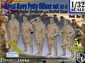 1/32 Royal Navy DC Petty OffIcer Set301-01 in Smooth Fine Detail Plastic
