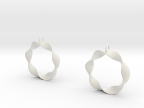 Mobius Earrings in White Natural Versatile Plastic