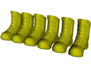 1/18 scale military boots C x 3 pairs in Smooth Fine Detail Plastic