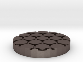 """Honeycomb 1"""" Circular Miniature Base Plate in Polished Bronzed-Silver Steel"""