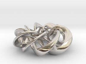 Torus Ribbons - Pendant in Cast Metals in Rhodium Plated Brass