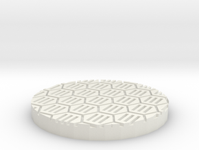 "Hex Grate 1"" Circular Miniature Base Plate in White Natural Versatile Plastic"