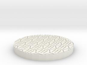 "Hex Grate 1"" Circular Miniature Base Plate in White Natural Versatile Plastic"