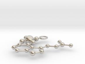 Psilocybin Molecule (large) in Rhodium Plated Brass