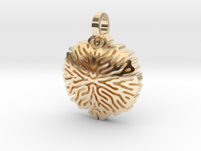 Reaction-Diffusion Pendant #1 in 14k Gold Plated Brass
