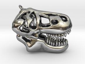 T-Rex Skull Pendant in Antique Silver