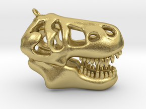 T-Rex Skull Pendant in Natural Brass