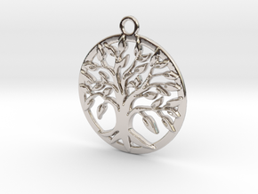 Tree of life and circle intertwined in Rhodium Plated Brass