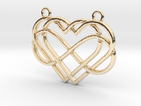 2 hearts & Infinite symbol intertwined in 14k Gold Plated Brass