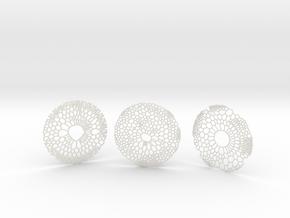 3 Organic Coasters in White Natural Versatile Plastic