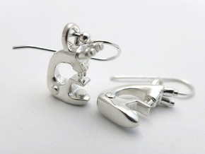 Microscope Earrings  in Polished Silver