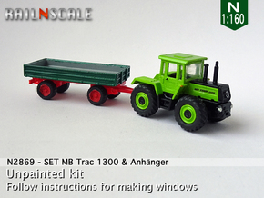 SET MB Trac 1300 & Anhänger (N 1:160) in Smooth Fine Detail Plastic
