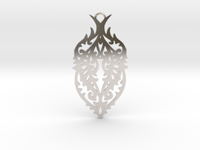 Thorn pendant in Rhodium Plated Brass: Large