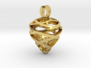 Pine cone [pendant] in Polished Brass