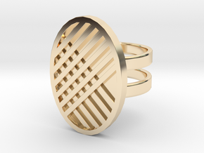 Two Stripe Ring in 14k Gold Plated Brass: 4 / 46.5