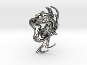 SOMAEXTATIC Large Statement Ring.stl in Fine Detail Polished Silver