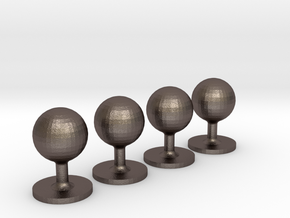 Set of 4 Sphere Shirt Studs in Polished Bronzed-Silver Steel
