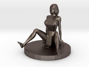Chinese Girl Fell on Her Behind (28mm Scale) in Polished Bronzed-Silver Steel