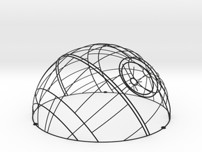 Wireframe Death Star Wall Sculpture in Black Natural Versatile Plastic: Small