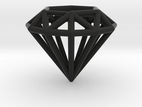 Diamond shaped wire pendant in Black Natural Versatile Plastic