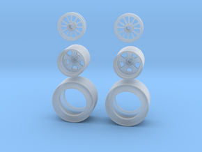 1:64 Drag racing wheels and Tires in Smoothest Fine Detail Plastic