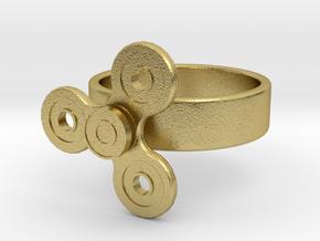 Fidget Spinner Ring in Natural Brass (Interlocking Parts): 4 / 46.5
