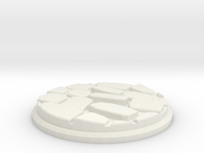 Uneven Cobbletone Base Plate (50mm) in White Natural Versatile Plastic