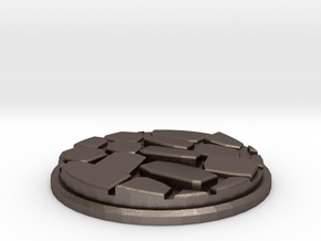 Uneven Cobblestone Miniature Base Plate (25mm) in Polished Bronzed-Silver Steel