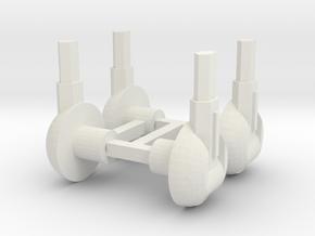 Set of Four 5mm Laser Turrets in White Natural Versatile Plastic
