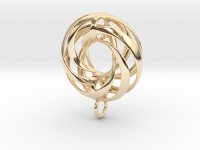 Twisted Torus Pendant in metal in 14k Gold Plated Brass
