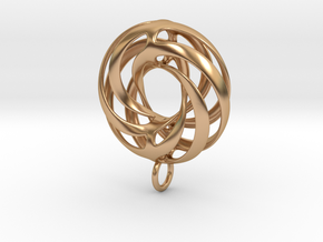 Twisted Torus Pendant in metal in Polished Bronze