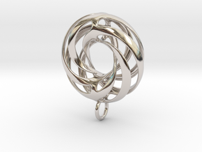 Twisted Torus Pendant in metal in Rhodium Plated Brass