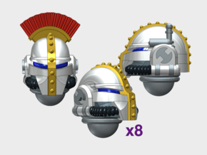 10x Base - Teutonic Helmets : Squad Set in Smooth Fine Detail Plastic