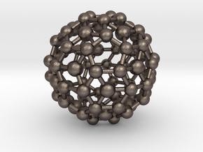 Buckyball / Geometric shape Pendant in Polished Bronzed-Silver Steel