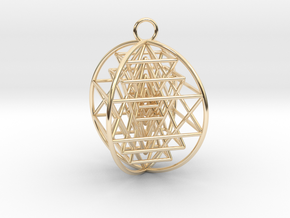 "3D Sri Yantra 4 Sided Optimal 2"" in 14K Yellow Gold"