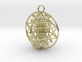 """3D Sri Yantra 4 Sided Optimal 2"""" in 18K Gold Plated"""