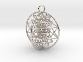 "3D Sri Yantra 4 Sided Optimal 2"" in Rhodium Plated Brass"