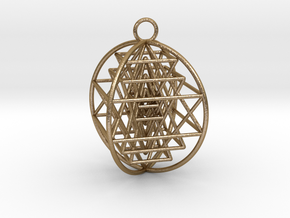 3D Sri Yantra 4 Sided Optimal in Polished Gold Steel