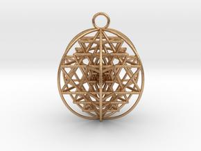 "3D Sri Yantra 6 Sided Optimal Pendant 2"" in Natural Bronze"