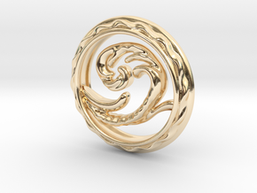 Big Wave Pendant. in 14K Yellow Gold