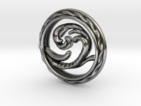 Big Wave Pendant. in Antique Silver