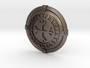 Brand's Shield Coin in Polished Bronzed-Silver Steel